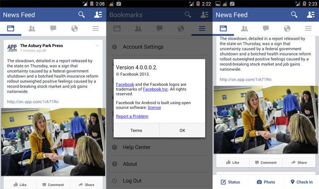 Facebook 4.0 Beta